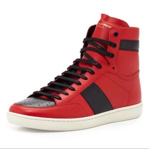 Saint Laurent Red and Black Leather Sneakers